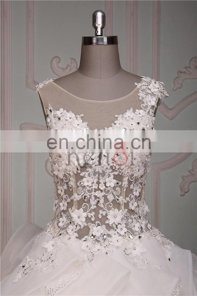 2016 see through ruffle organza appliqued lace wedding dress patterns free imported from china