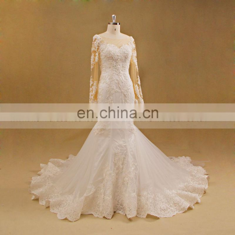 ED wedding gown bridal boat neck long sleeve wedding dress