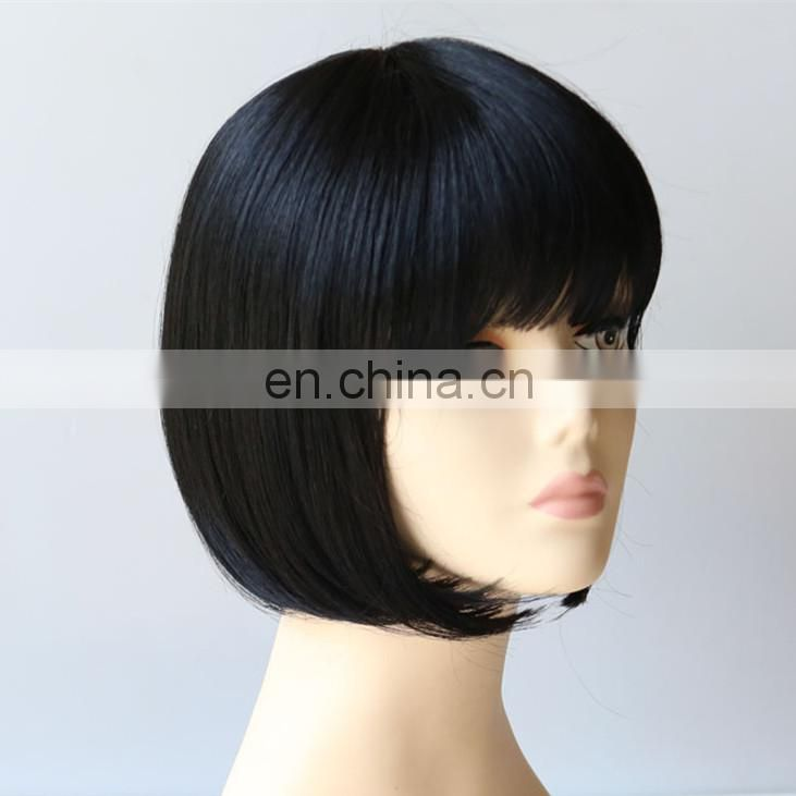 Short Straight natural black Cosplay Wig heat resistant fiber Bob Style synthetic Hair Wigs cheap party wigs