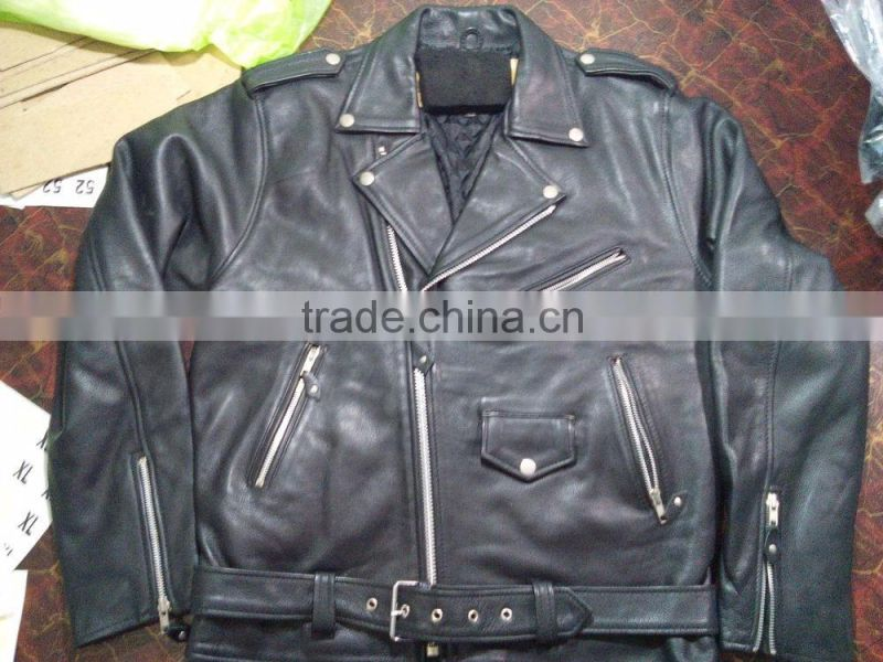 Stylish Real Leather Jacket For Men / Motorbike Leather Jacket,Leather Belted Rider Black Biker Genuine Cowhide Leather Jacket S