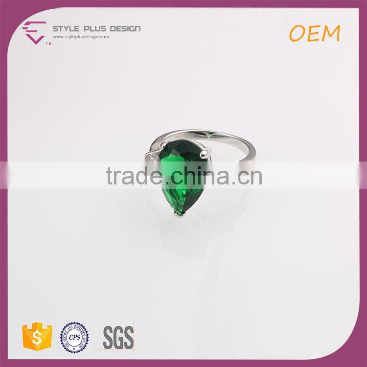 R63482K01 Best selling silver plated big size jade stone ring designs