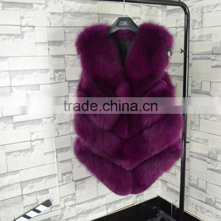 Brand design 2016 new high-quality long fox fur vest female autumn and winter fashion new factory price of luxury fur coat