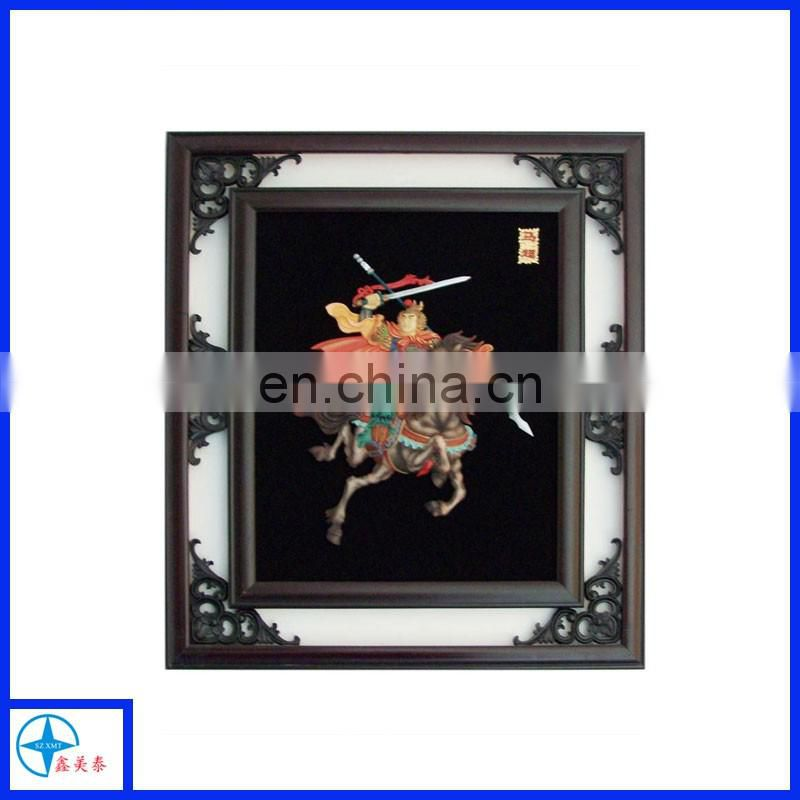 XMT custom design artistic wooden frame, resin wall decorative Chinese lengendary figure relief frame