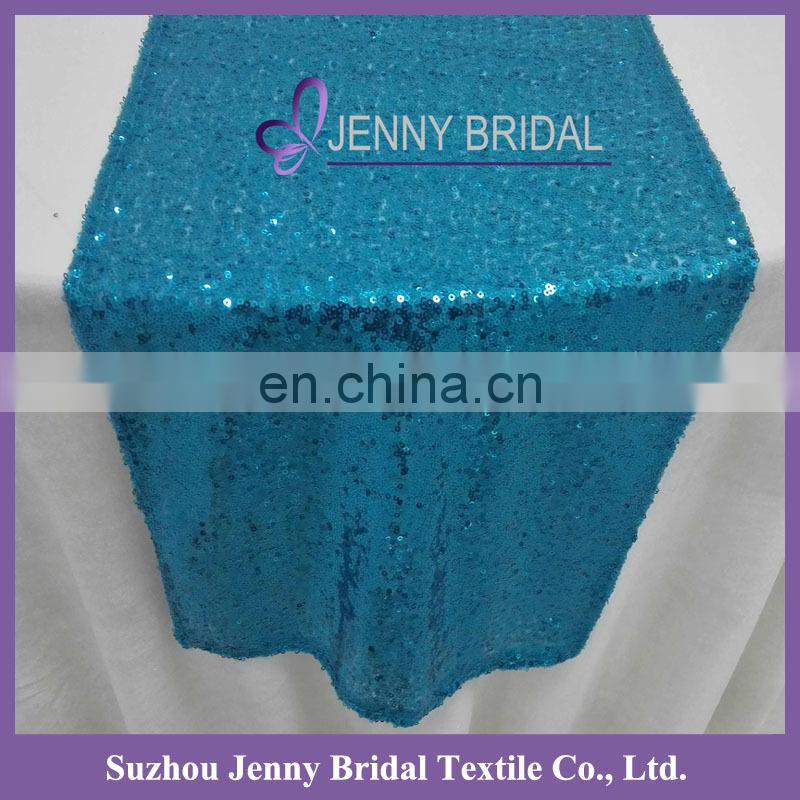 SQN#10 Jenny Bridal Ocean Blue Cheap Metallic Sequin Table Runner