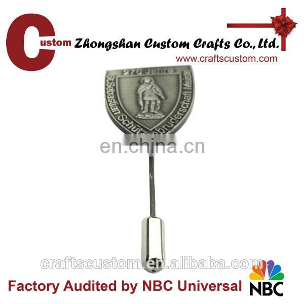 Wholesale custom die struck long needle antique silver lapel pin