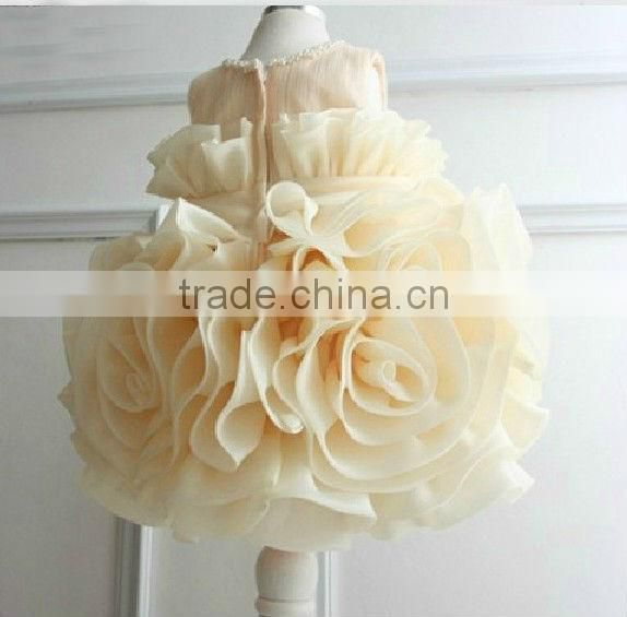 2013 hot sale ball gown short beaded real sample champagne little girl pageant dress CWFaf5322