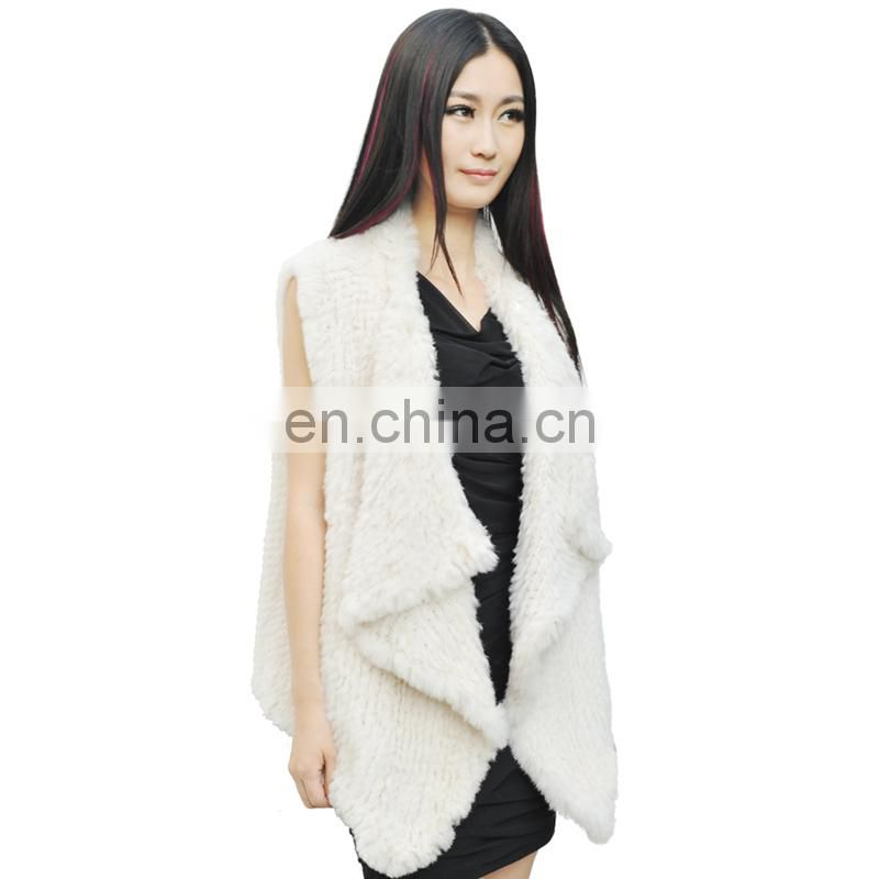 Ladys Genuine Rabbit Fur Vest Winter Female nitted Outerwear Waistcoat