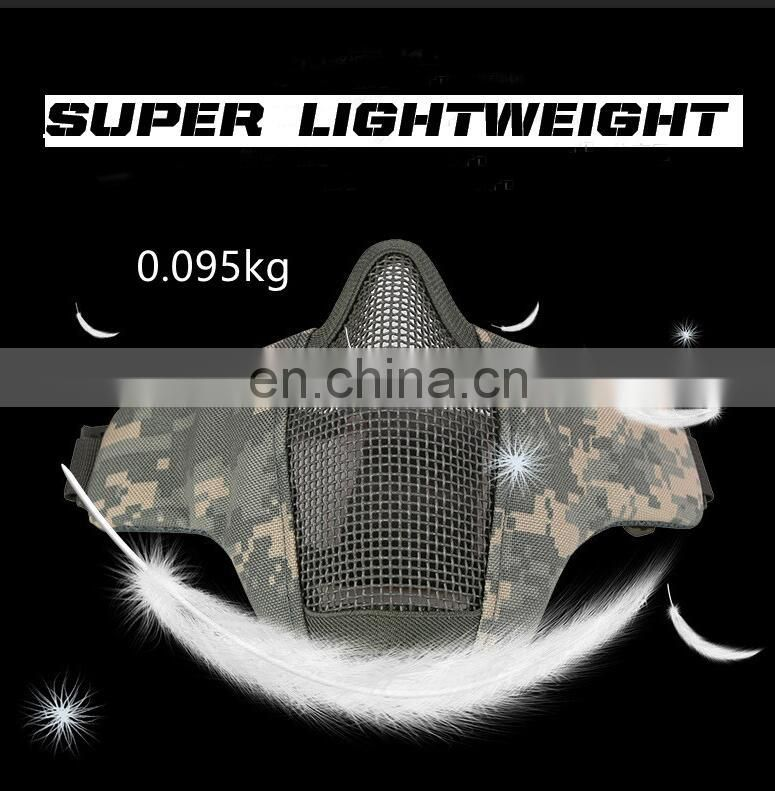 Hunting Tactical Metal Steel Net Mesh Half Face Mask Cover Protective Guard 1000D Nylon Mask for Airsoft Paintball