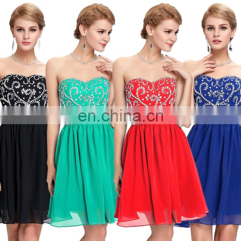 Grace Karin Sexy Ladies Strapless Beaded Chiffon Short Navy Blue Bridesmaid Dress 2015 CL6049-1