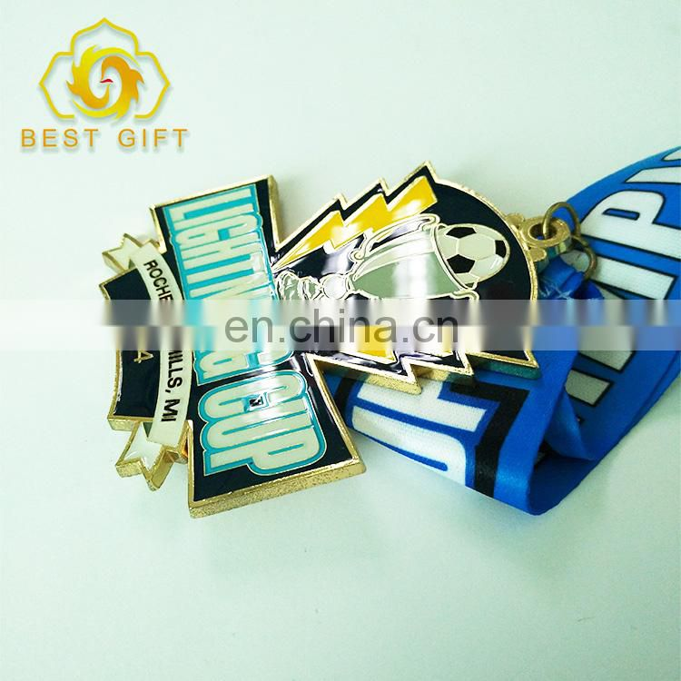 Hot Selling Custom Zinc Alloy Award Medal With Colorful Ribbon