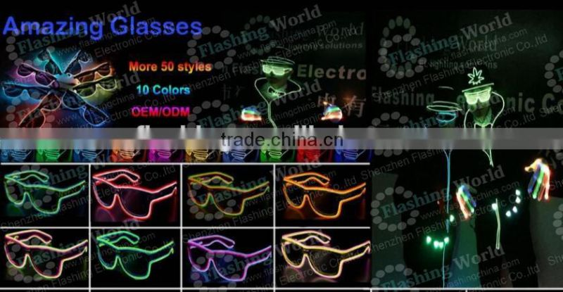 custom fashionable ladies round neck black cotton whoelsale multi color el wire glasses
