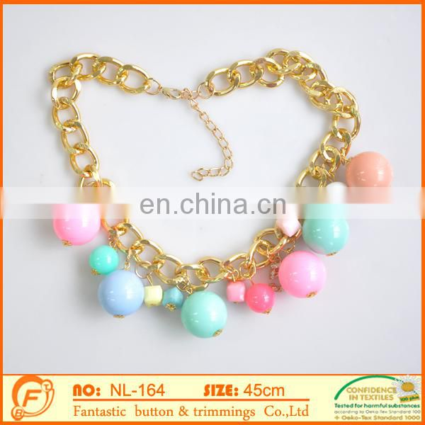 metal gold chain necklace with pom pom ball for women decoration