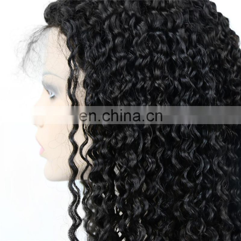 Cheap BRAZILIAN human virgin 9A grade hair full lace wig in deep curly raw unprocessed hair