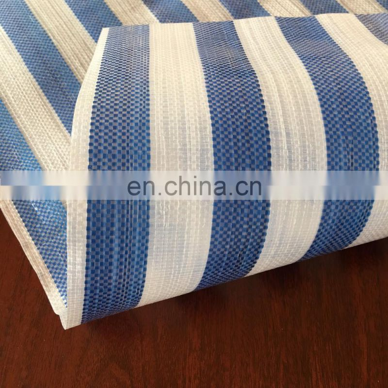 blue white stripe waterproof pe sheet for market stall shade