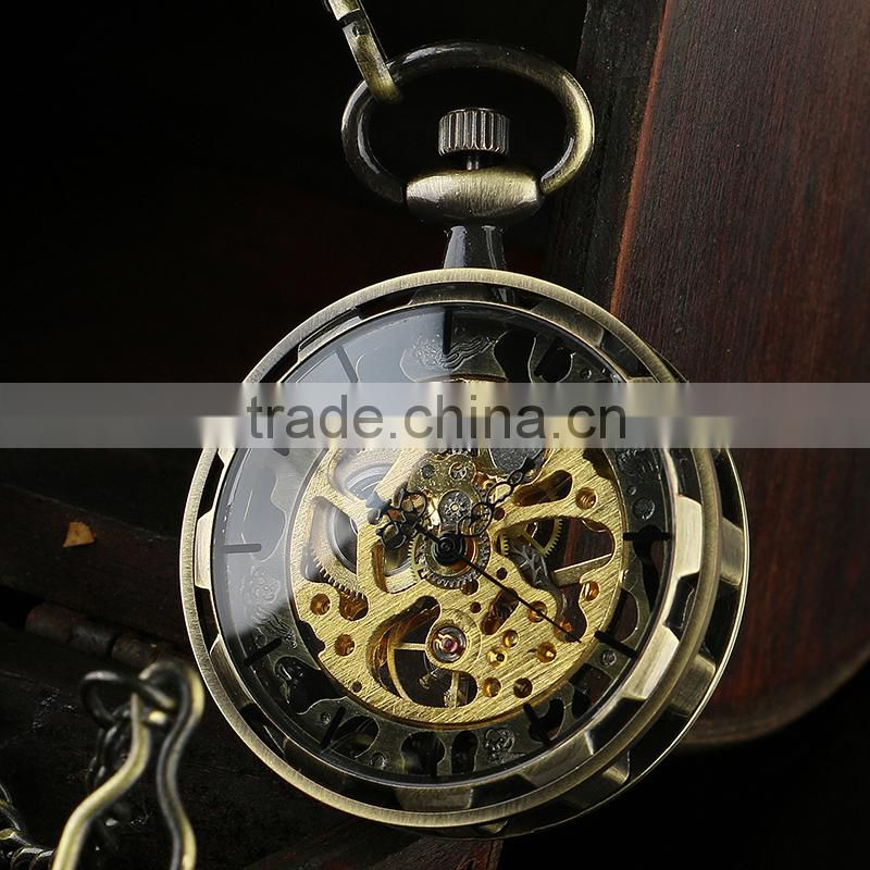 Bronze Skeleton Dial Pocket Watch in Bulk Mechanical Pocket Watch WP129