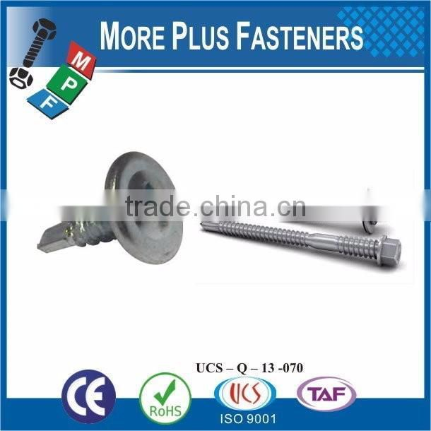 "Taiwan 1/4""-14 x 1-1/2"" Indent Hex Unslotted Hex Washer Head #3 410 Stainless Steel Bonded Sealing Washer Self-Drilling Screw"