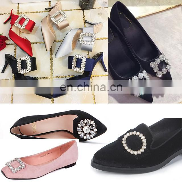 2017 High Quality New Arrival shoe ornament Metal Rhinestone Shoe Buckles For Women