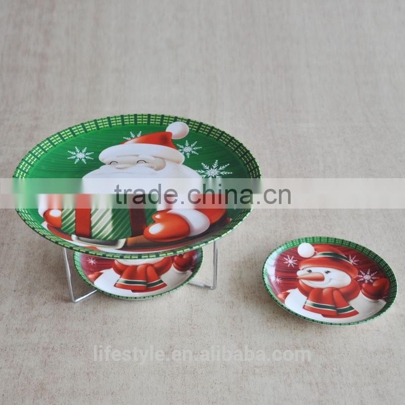 5PCS Christmas Ceramic Cake Plates With Rack,Porcelain With Decal