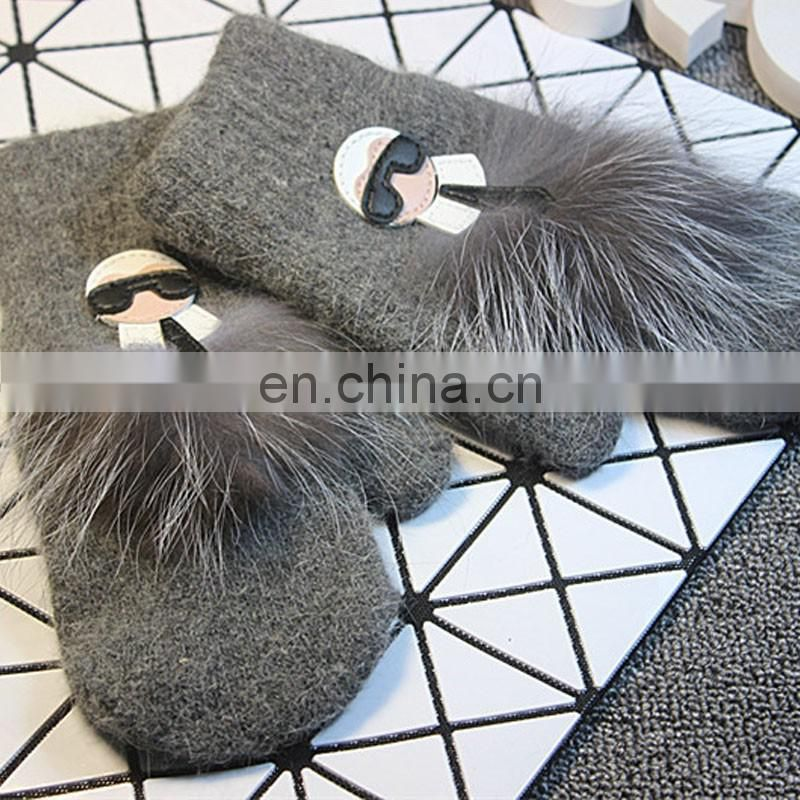 Latest design rabbit fur blended winter mittens for girl women wholesale