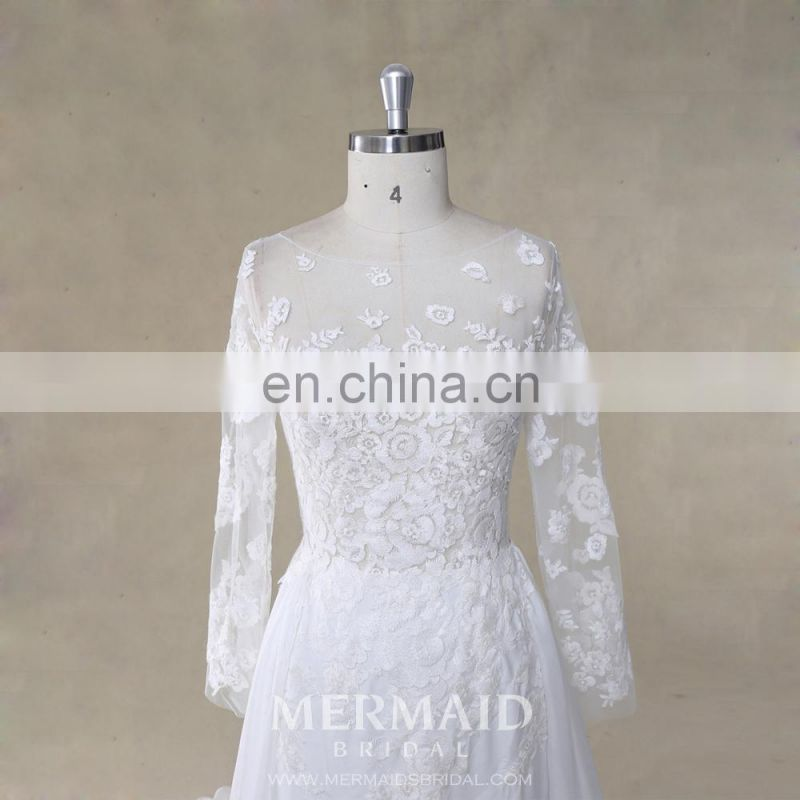 Luxury wedding gown boat neck long sleeve bohemian wedding dress