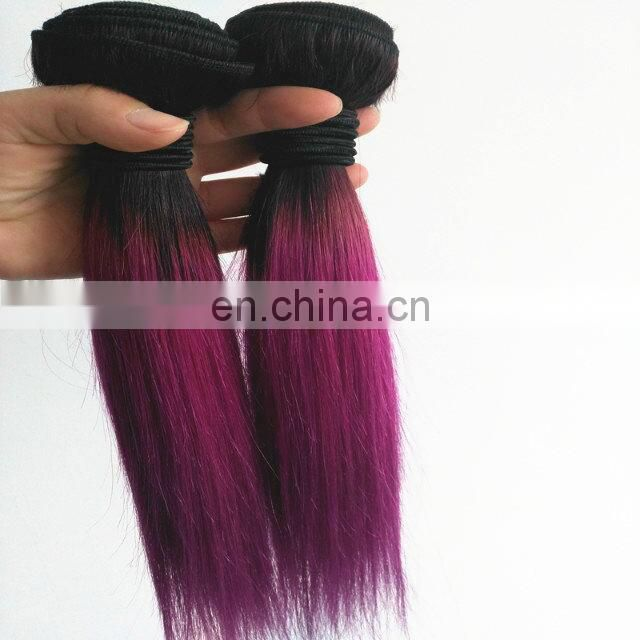 Best selling 12inch 1B/27 30 320 99J Purple ombre bundles 100% remy human hair extension