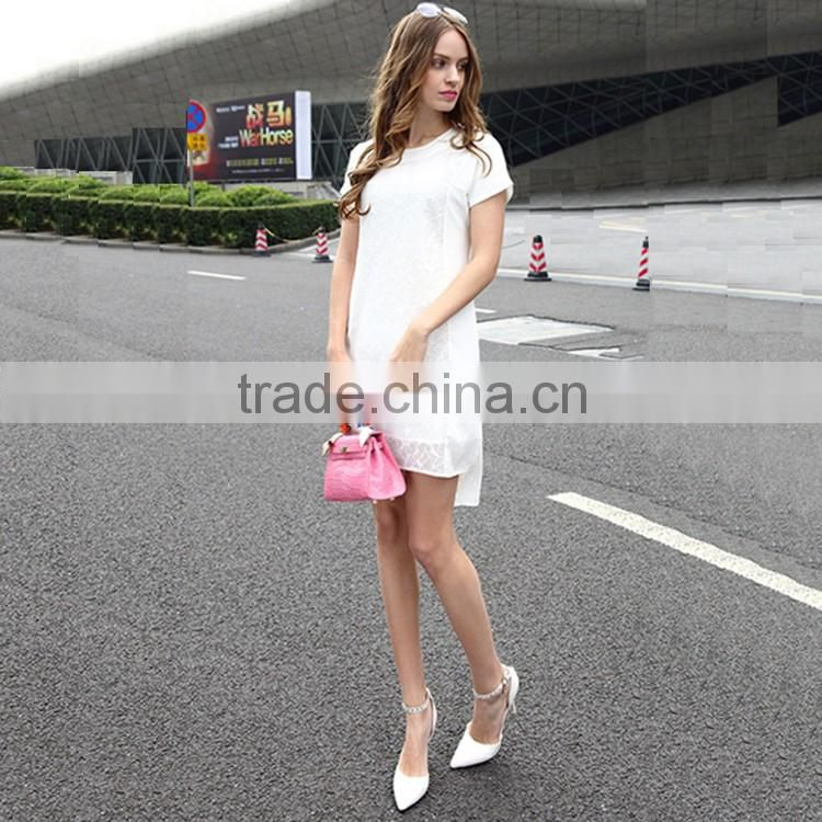 2016 Women Fashion Cutting Short Front Long Back Dresses Lace Patchwork Round Neck Slim Chiffon Elegant Summer Dress