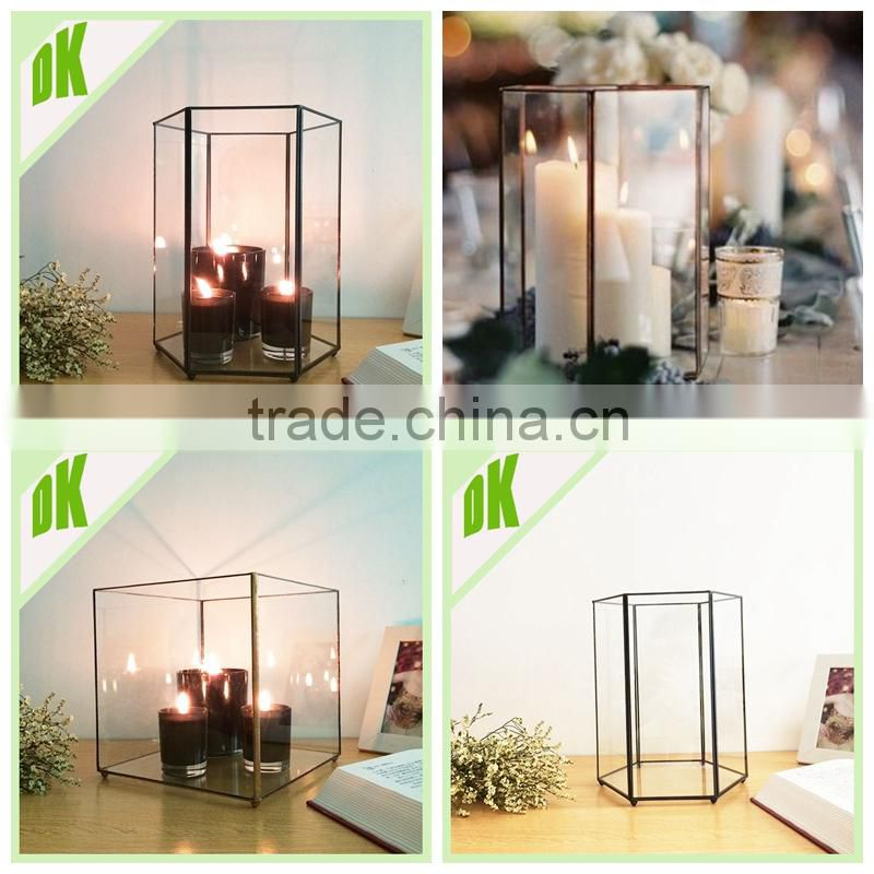 Large Black Metal Glass Home Quote Lantern Candle Holder Indoor Home Decor