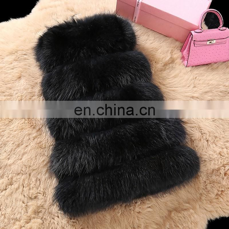 Winter warm long style women fur vest custom raccoon fur overcoat
