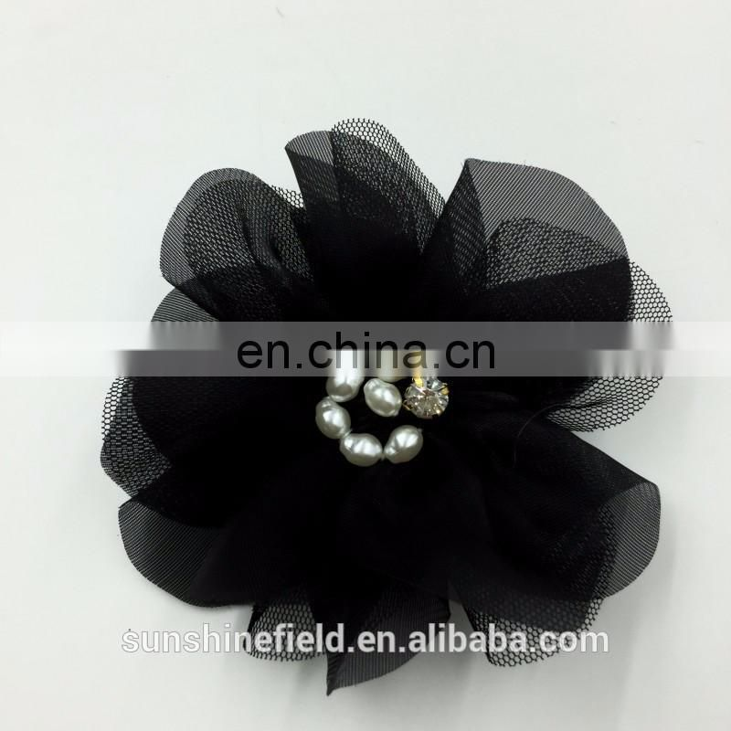 Lace Chiffon Flower Bridal Accessory Pearl Flower Rhinestone Flower Without Hair Clip Flat Back