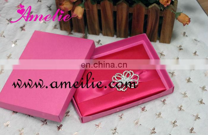 A730 Hot Sale Different Color Ribbon Customize luxurious wedding invitation card