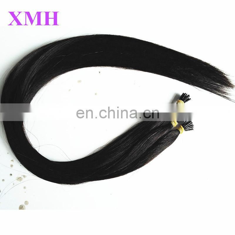 Factory wholesale tangle free Italin keratin i tip indian remy hair extensions