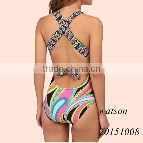 2016 garden paisley print ladies one piece swimwear women swimsuit