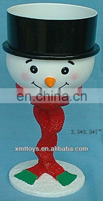 plastic snowman with black hat cup for christmas gift