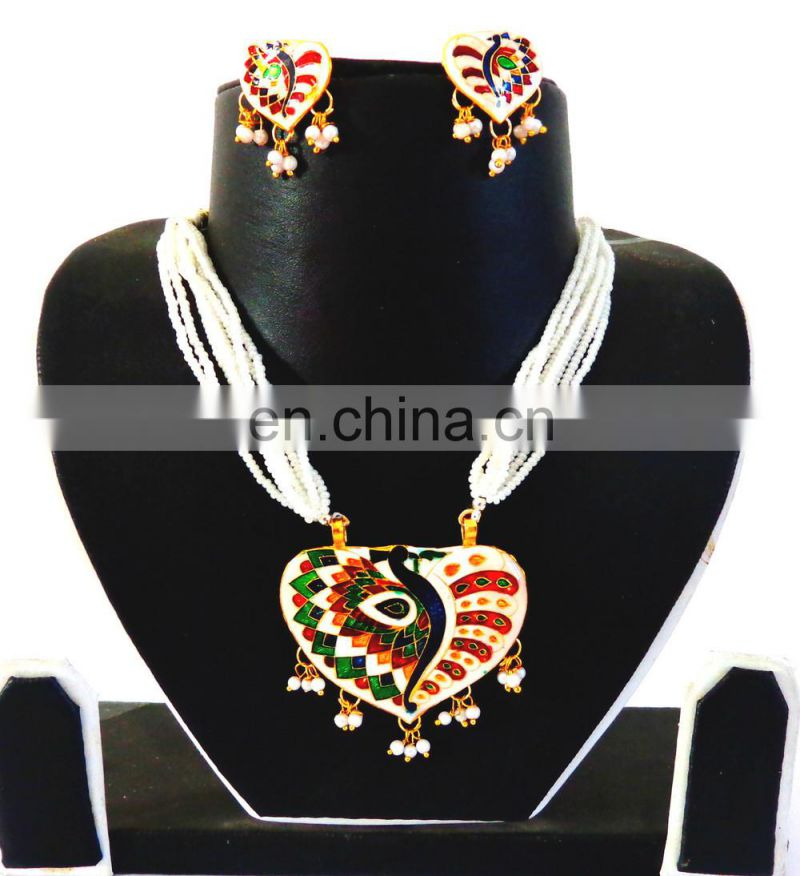 INDIAN MEENAKARI NECKLACE SET-MEENAKARI WHITE JEWELRY-MEENAKARI CHANDELIER JEWELRY-online wholesale meenakari jewelry