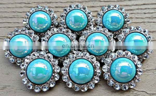 Trendy blue pearl decorative buttons