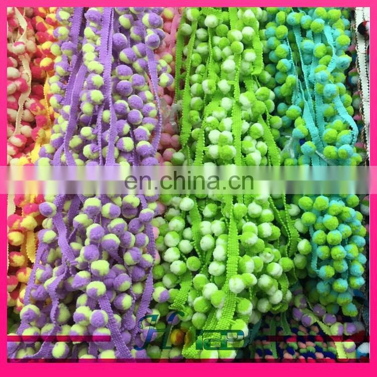 hot sale polyester pom pom lace trim colorful indian fringe trim