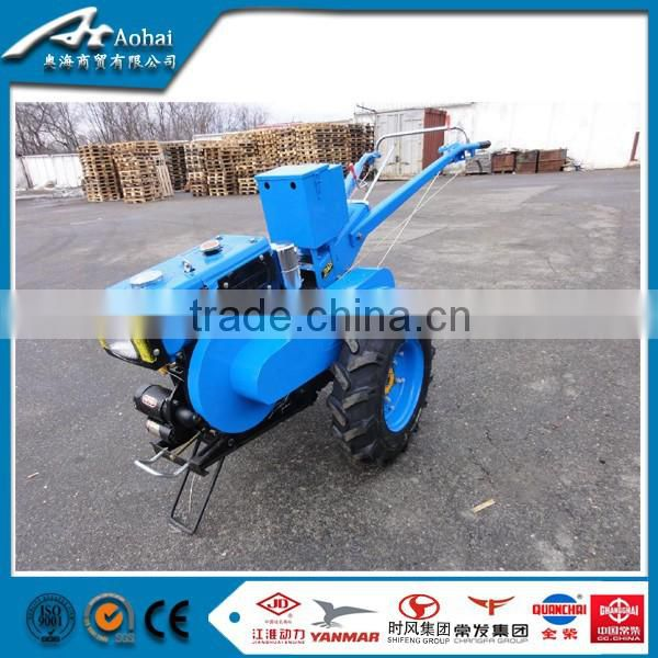 Aohai two wheel tractor low price for sale,farm hand tractor 15 Hp diesel engine with lawn mower implement