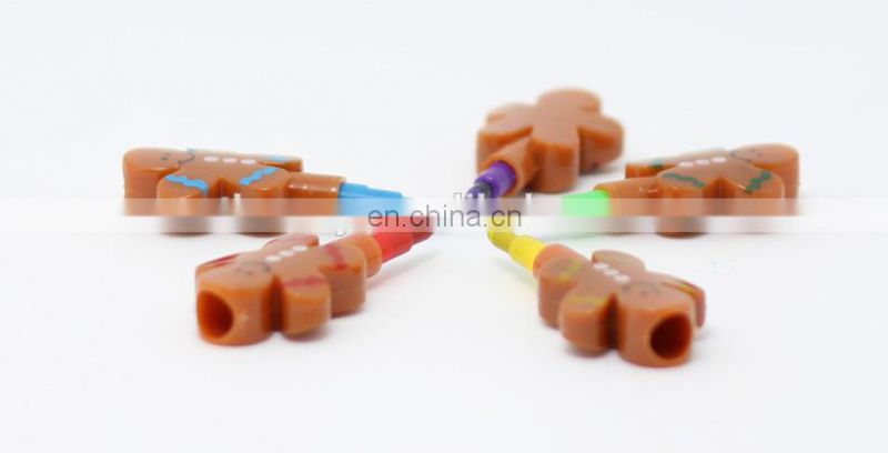 gingerbread man shaped stacker crayon multi colored crayon