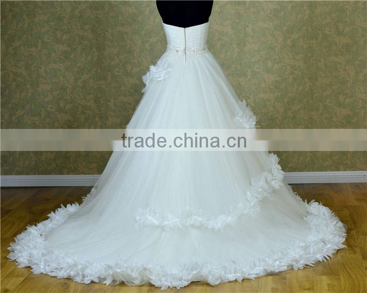 Empire Seam Dress handmade flower Organza latest dress designs for ladies