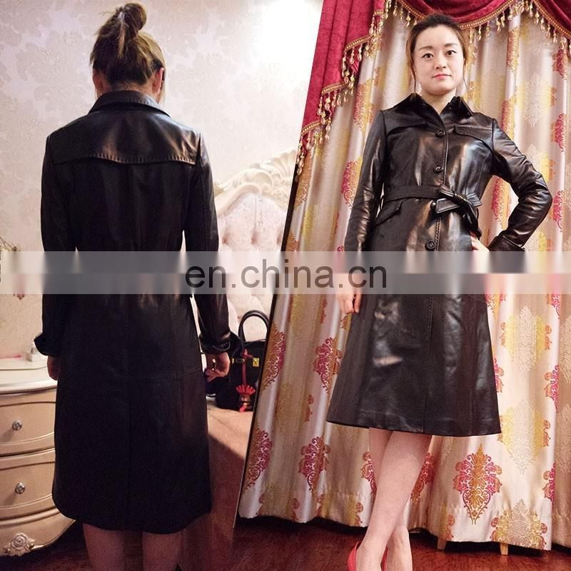 Haining Supplier Womens Real Sheepskin Coats Long Lamb Fur Leather Jackets