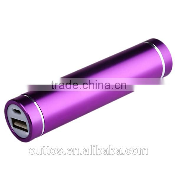 External charger cylinder shape 2600mah power bank slim