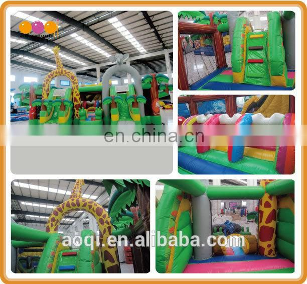 AOQI cheap PVC tarpaulin forest playland inflatable fun city for kids commercial use inflatable fun city with EN14960