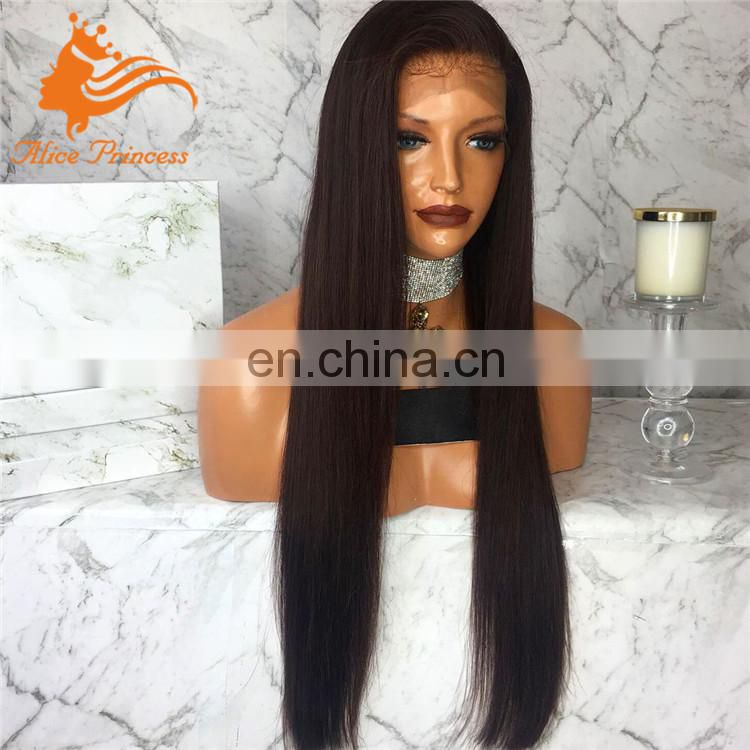 Top Grade Natural Color Straight Silk Base Wig Brazilian Human Hair Glueless Silk Top Full Lace Wig For Black Women