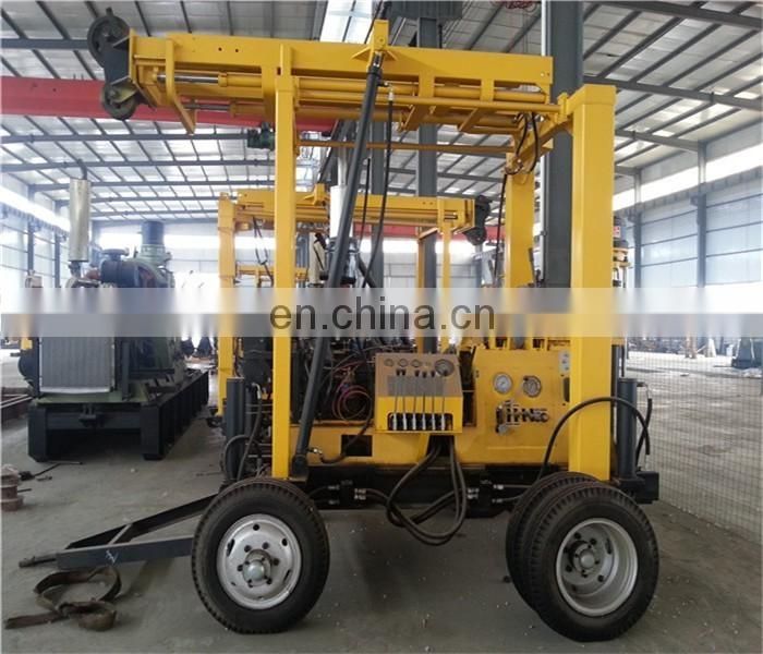 XY-3X 4-wheel trailer-mounted water well drilling rig / mobile deep well drilling machine with mud pump