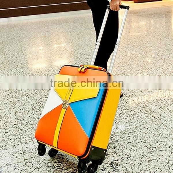 2016hot sale PU material luggage bags nylon lining large capacity luggage trolley bags carry style with wheels