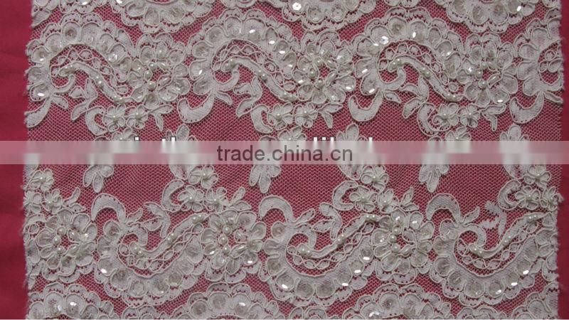 Narrow Short Full Beaded Ivory Corded French Lace Trim