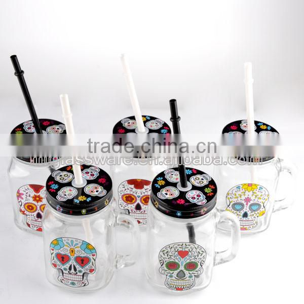 16oz Halloween White Smile Skull decal glass mason jar drinking water glass cup