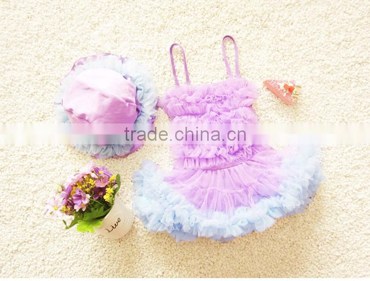 Princess dress style swimwear girl one piece beachwear with skirt