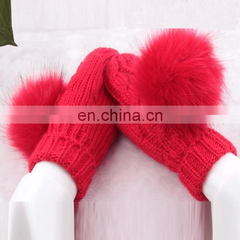 Large rabbit fur pom pom knitted mittens for girls fashion