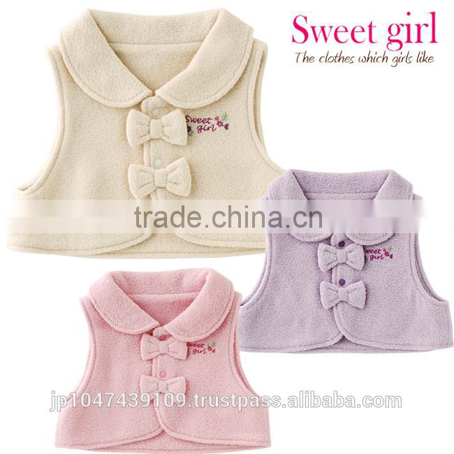 Japanese wholesale products high quality cute ribbon baby vest winter clothes kids wear toddler clothing children infant